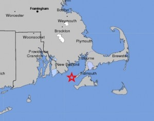 MAP - May 15, 2011 - Earthquake off Cape Cod
