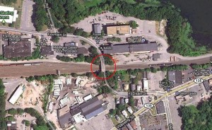 Map of Fountain St. bridge replacement work area in Framingham, MA