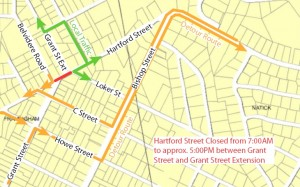 Framingham - June 2011 Hartford St / Concord St. detour map