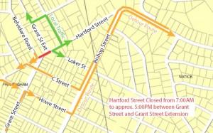 Framingham - June 2011 Hartford St / Concord St. detour map