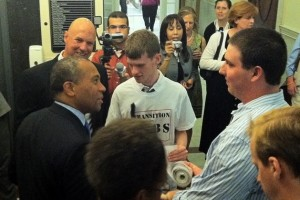 Supporters and Rep. Tom Sanicandro Present Gov. Patrick with Petition for Transitional Services for Disabled High School Students (June 21, 2011)
