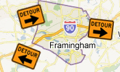 Framingham Roadwork, Traffic Detours (icon)