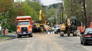 Sewer main construction on Grant St.