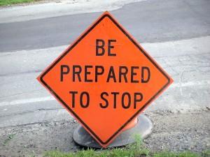 Framingham Traffic Sign - Be Prepared to Stop