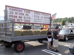 Hanson's Farm getting the Haunted Hayride ready to use as a float in the parade.