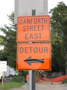 Danforth St. Bridge, (detour sign, corner of Concord St / School St., Framingham, MA)