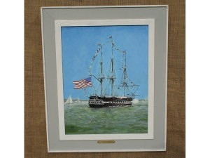 Tall Ship in ink and acrylic by Bill Robinson
