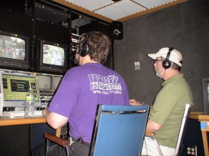 Bill McColgan and Mark Hunt in the FPAC-TV Mobile Studio