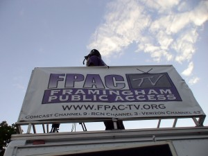 Cameraman atop the FPAC-TV Mobile Studio