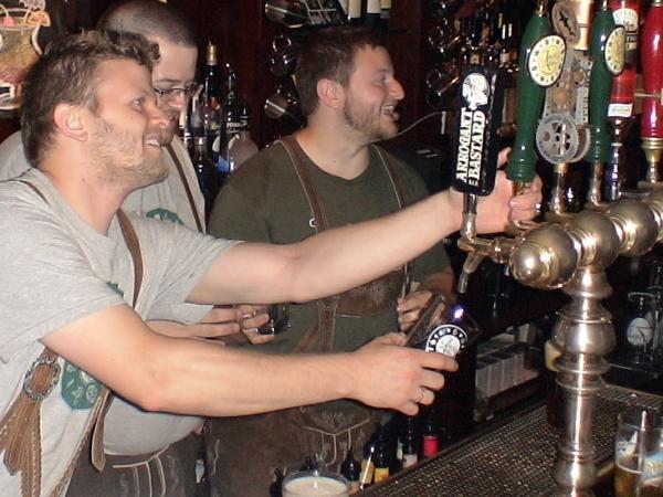 Jack Hendler taps first keg of Jack's Abby Saxon Sons Pilsner, (July 2,1 2011)