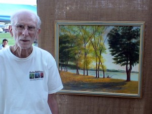 Brother Eugene DeLauro and painting of Farm Pond, Framingham, MA