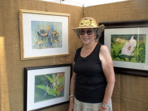 Sudbury Artist, Polly Meltzer with a few of her watercolor images from nature.