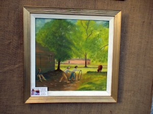 Eugene DeLauro oil painting - children rolling hoops in farm scene