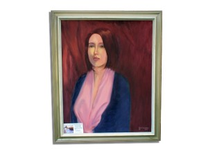 Oil painting, portrait of woman by Eugene DeLauro