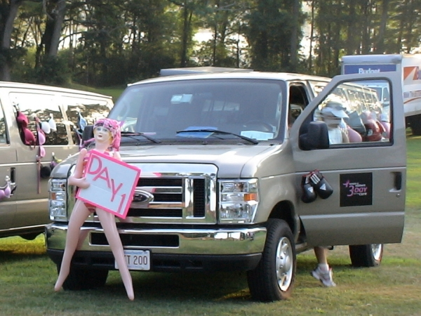 Crew van, decorated for Day 1 of the ''3-Day for the Cure'' parked at Farm Pond before the start of the 2011 Boston walk.