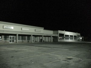 Nobscot Shopping Center, vacant stores at night (July 28, 2011 photo)