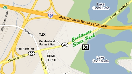 Map to Cochituate State Park Entrance (on Rt. 30)