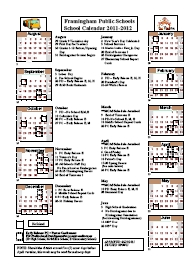 2011-2012 Framingham Public School Calendar