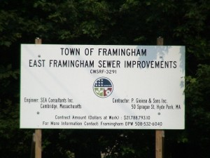 East Framingham Sewer Improvement Project Sign