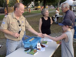 Ken Ross of Boy Scout Pack 78 recruiting new Cub Scouts.