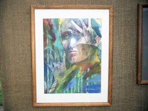 Deborah Bottomley abstracted portrait in watercolor.