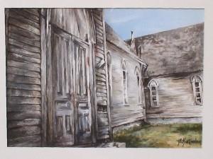 Old barn in watercolor by Deborah Bottomley.