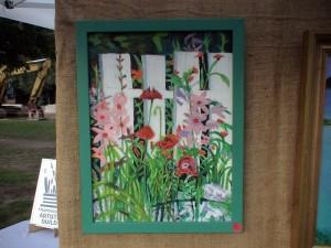 Merrillee torres, floral garden scene, acrylic painting.