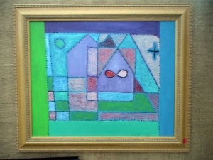 Colorful cubist style imparts the impression of stained glass in another Torres painting.