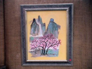 Cherry blossoms on a peach background, Merrillee Torres
