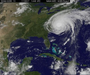 August 27, 2011 - NASA Photo of Hurricane Irene over Eastern US (11:40 a.m. EST)