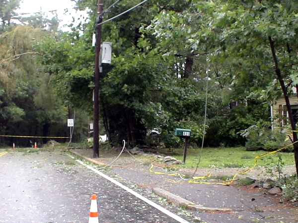 Photo - Hurricane Irene, power wires downed at 495 Brook St, Framingham, MA, August 28, 2011