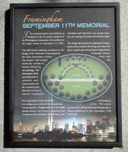 Sign at entrance to the September 11th Memorial located in Cushing Memorial Park in Framingham, MA