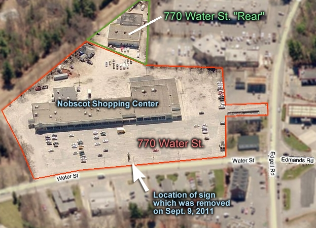 Map showing Nobscot Shopping Center / 770 Water Steet, Framingham, MA properties owned by Centrecorp Retail Properties, Inc