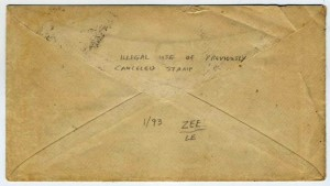 Back of Patriotic Civil War cover addressed to Mr. John Lewis, Saxonville, Mass.