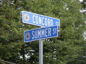 Sign at intersection of Concord Street and Summer Street in Framingham, MA