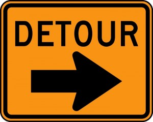 Framingham Traffic Detours sign