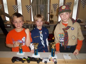 Building and racing Pinewood Derby cars, one of the favorite annual Scouting activities.