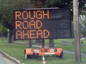 Rough Road Ahead (traffic sign, Framingham, MA)