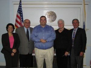 Framingham Board of Selectmen, (left to right) Laurie Lee, Charlie Sisitsky, Jason Smith, Ginger Esty and Dennis Giombetti.