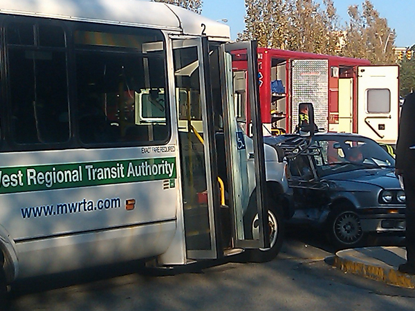 MWRTA Bus Collides with Car at Natick Mall, (October 18, 2011)