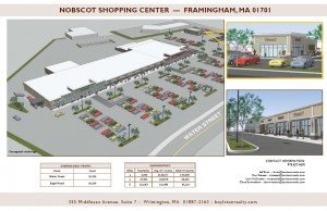 Conceptual drawing of Nobscot Shopping Center and former Texaco Gas Station as shown in new leasing information brochure.