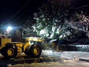 [photo] Front-end loader remving snow in Framingham, MA
