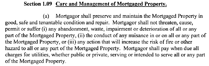 Section 1.09 of Centercorp / Rockville Bank $14M Mortgage