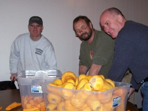 The squash guys doing some prep work the night before Thanksgiving last year.