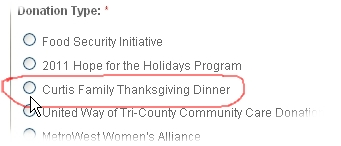 Donate to Curtis Family Thanksgiving through the United Way website!