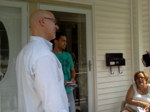 Sannicandro Talking to Voters: Rep. Tom Sannicandro on left.