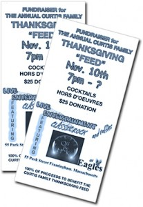 Tickets for the 2012 Fundraiser Dinner/ Dance to support the Curtis Family Thanksgiving in Framingham.