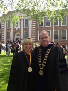 [photo] Senator Spilka and Dr. Timothy Flanagan at Framingham State University (5/19/2013)