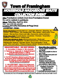 2014 Framingham Hazardous Waste Day