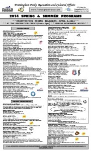 2014 Framingham Park and Rec programs